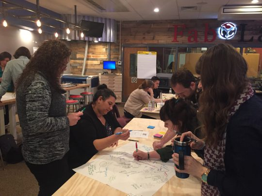 Members of the Pittsburgh Maker Educators Learning Community use the Chalk Talk thinking routine to discuss the three core AbD maker capacities.